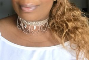 Rose Gold Drop Loop & Sequin Choker Necklace
