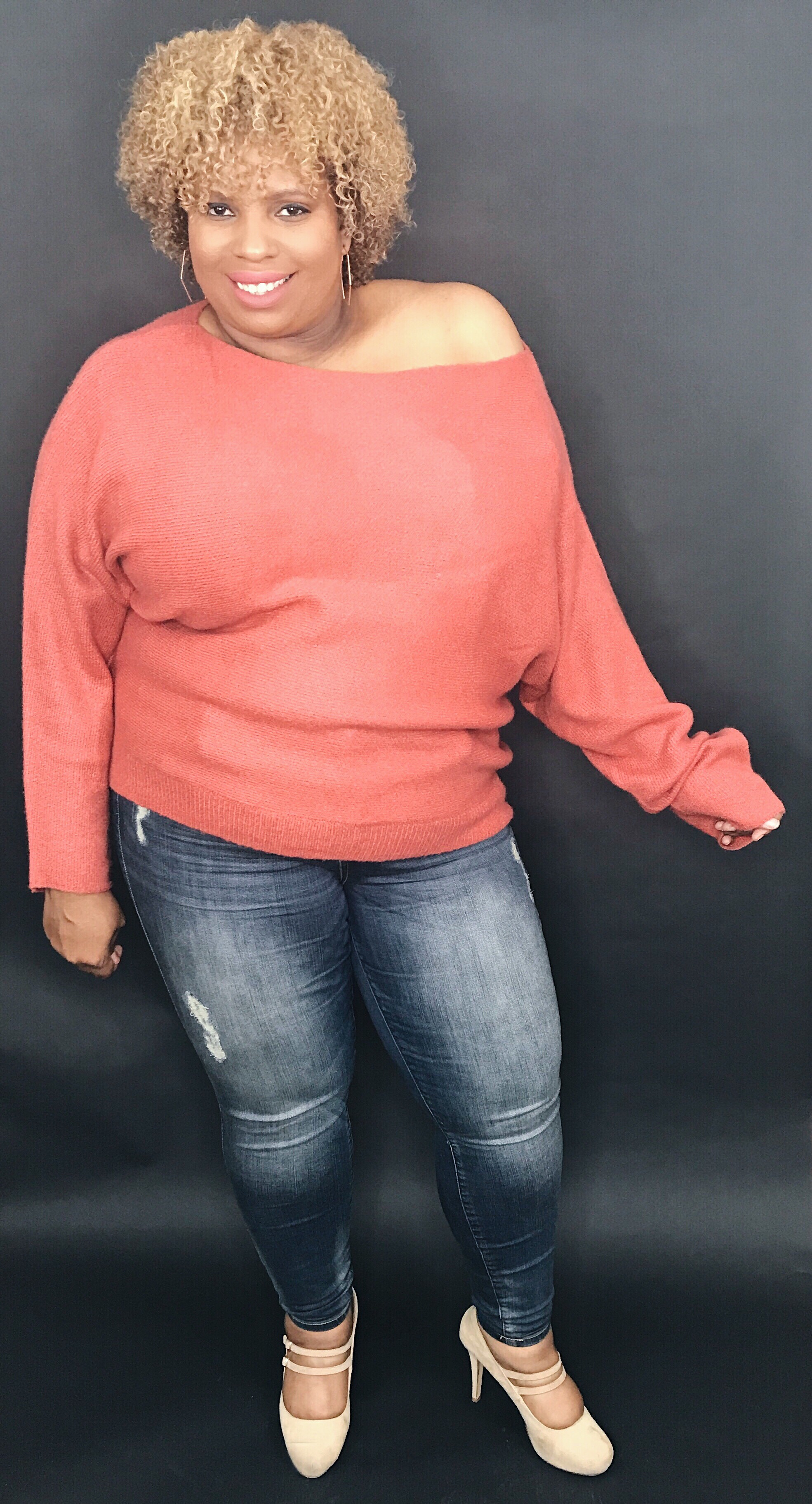 Pink sweater forever 21, winter wardrobe, natural hair style