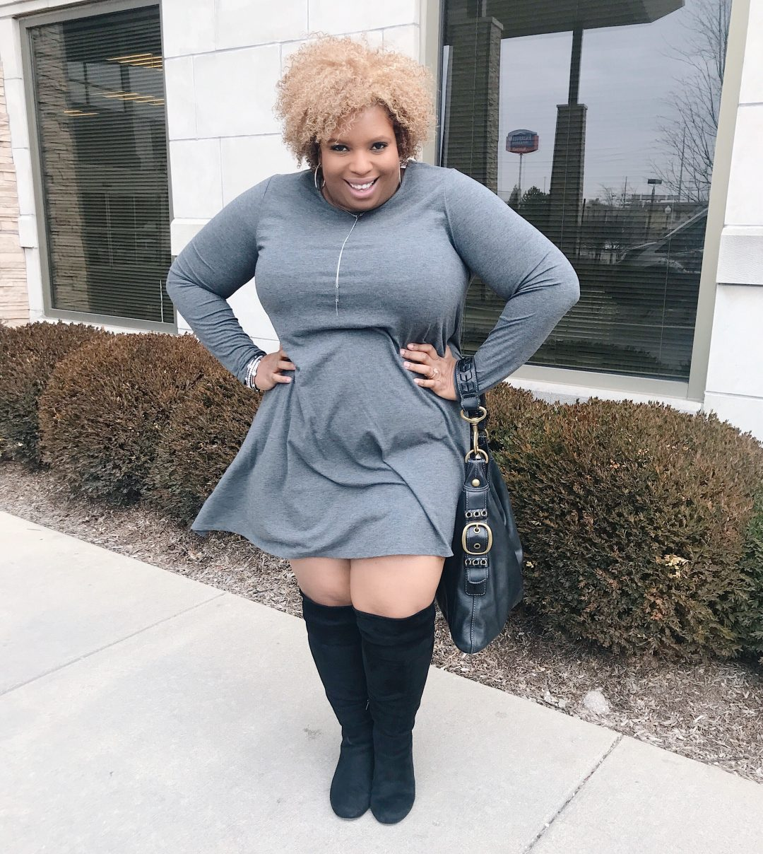 gray dress with black over the knee boots