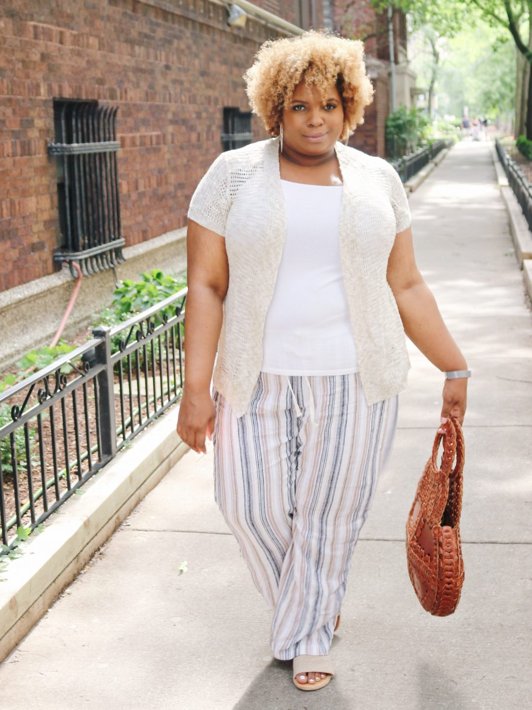 plus size linen pants striped