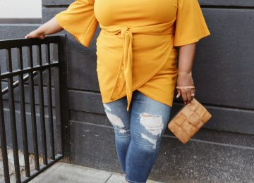 plus size tie waist mustard dress