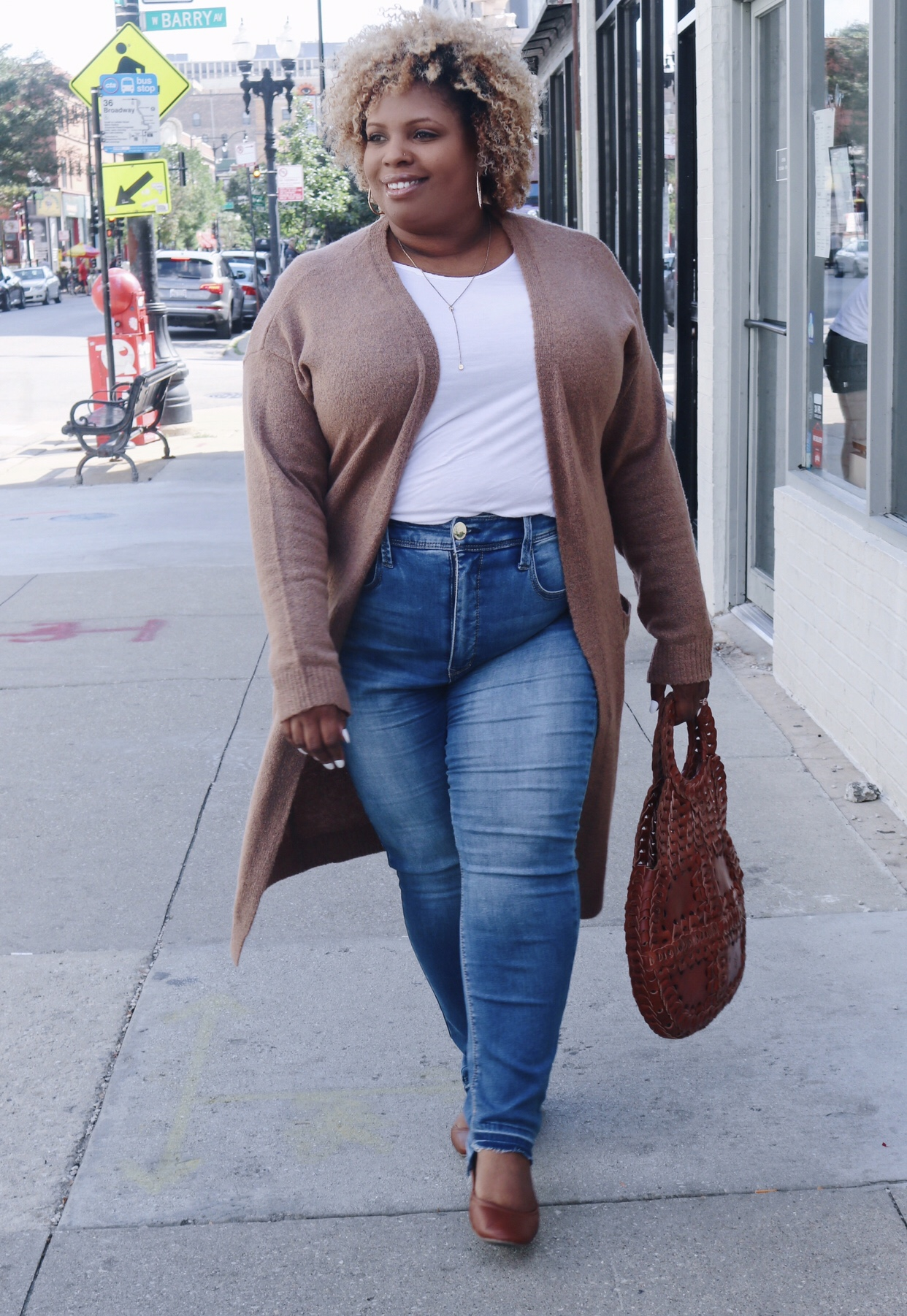 jeans with cardigan sweater plus size Patricia Nash purse