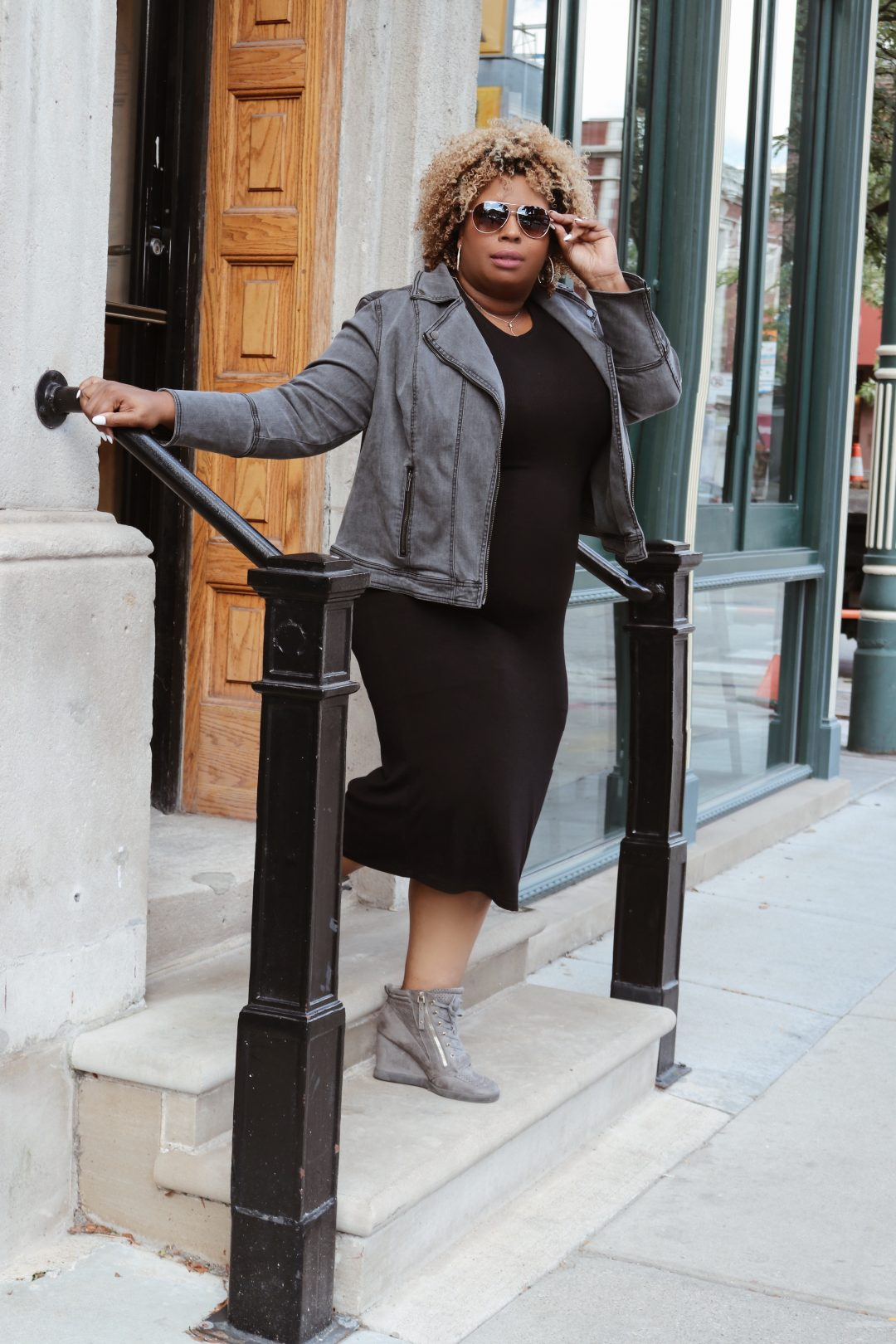 black dress with denim jacket gray denim plus size
