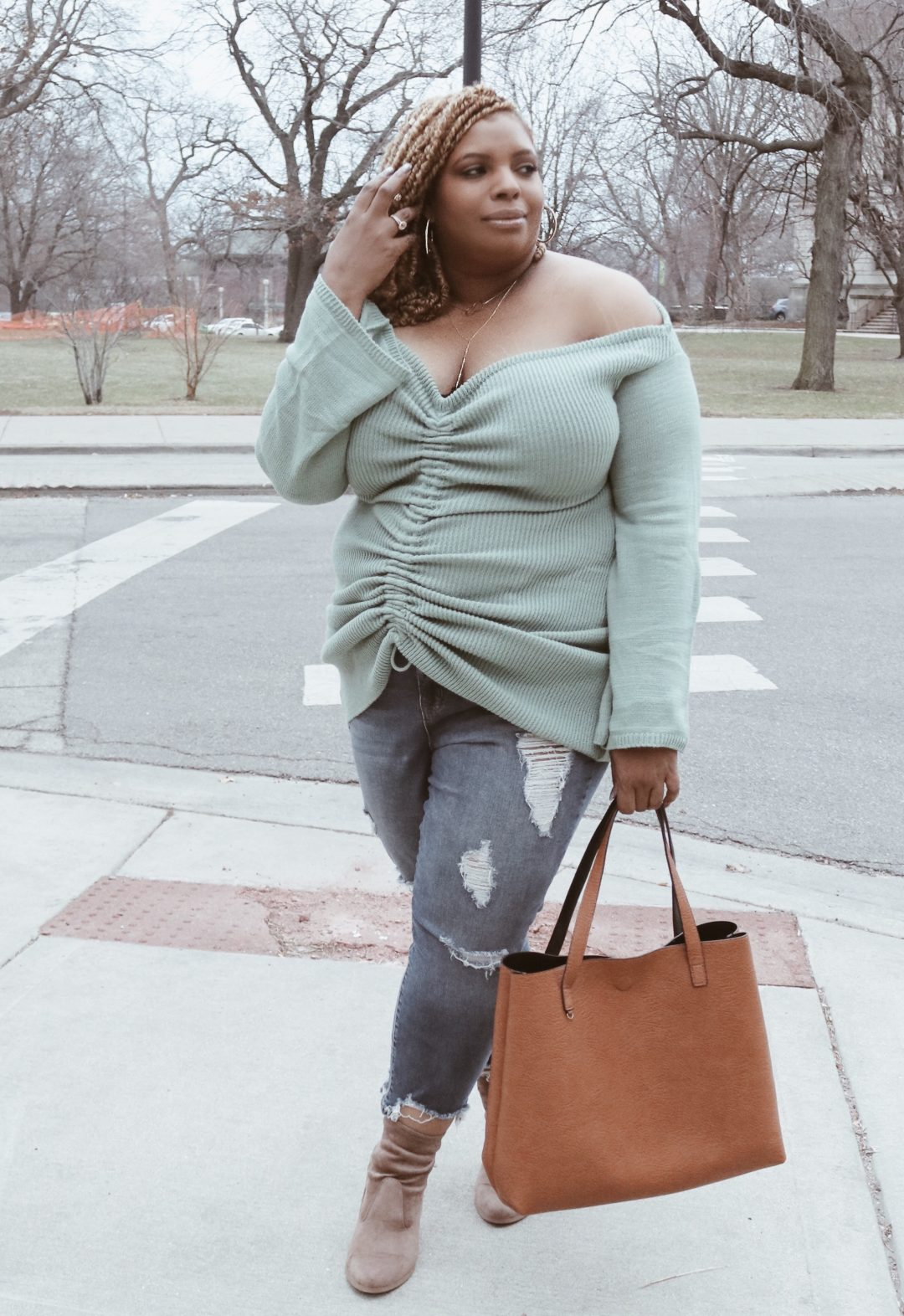plus size green sweater distressed jeans boohoo