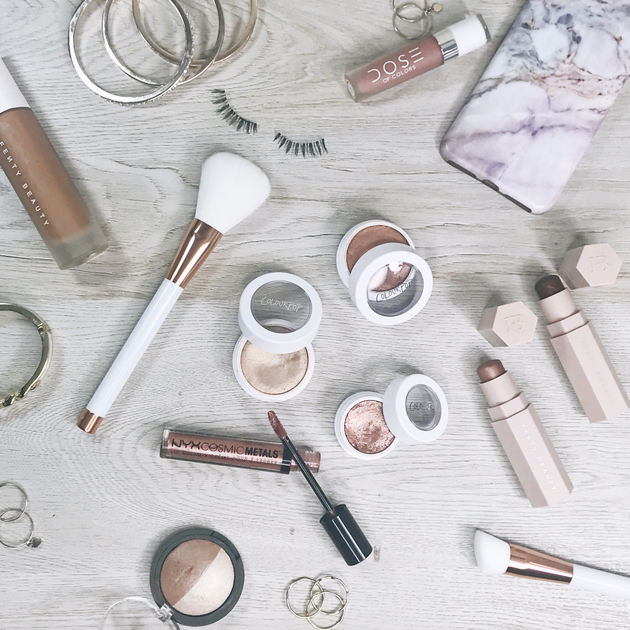 fall makeup flat lay