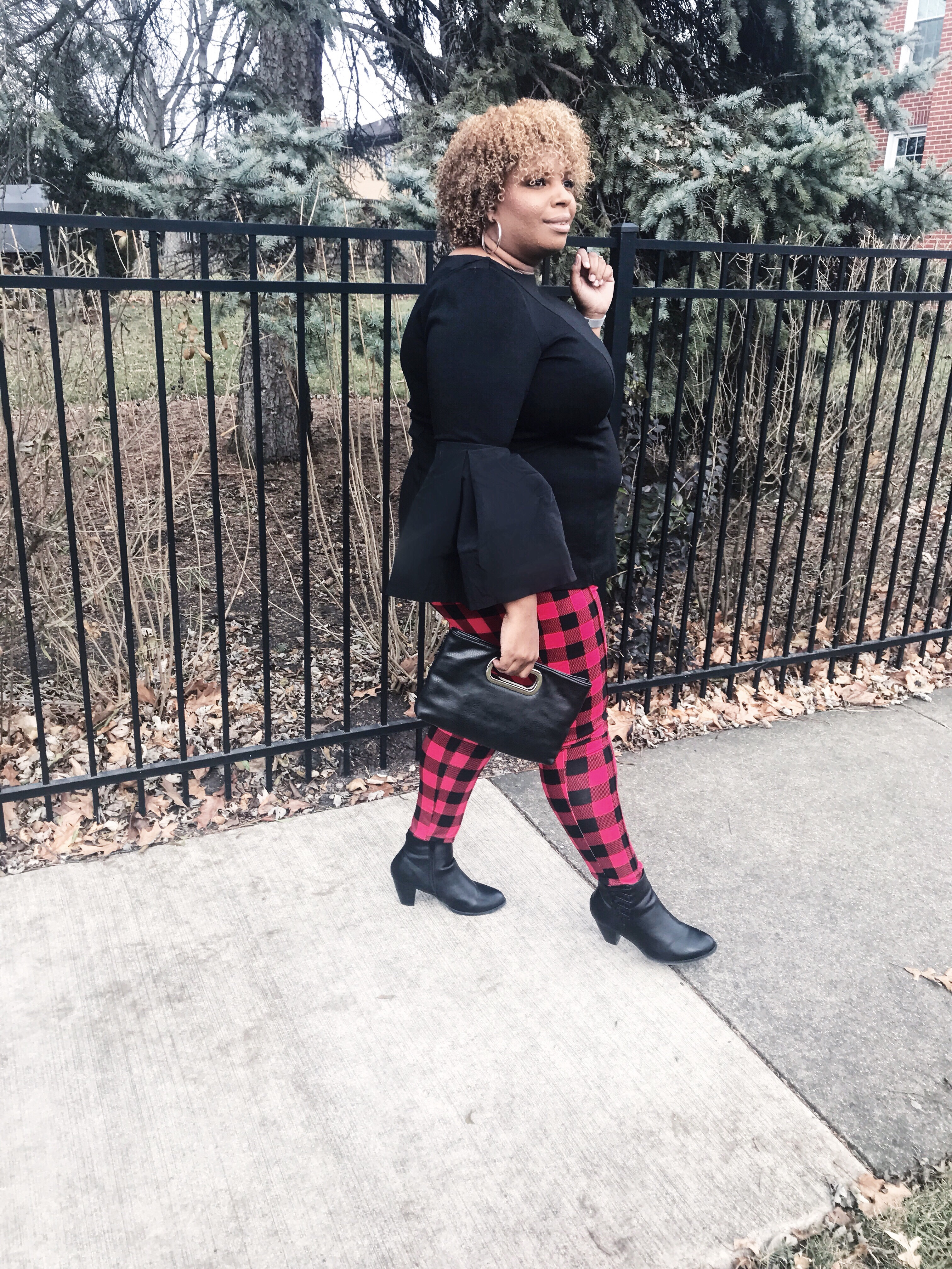 red and black checkered pants