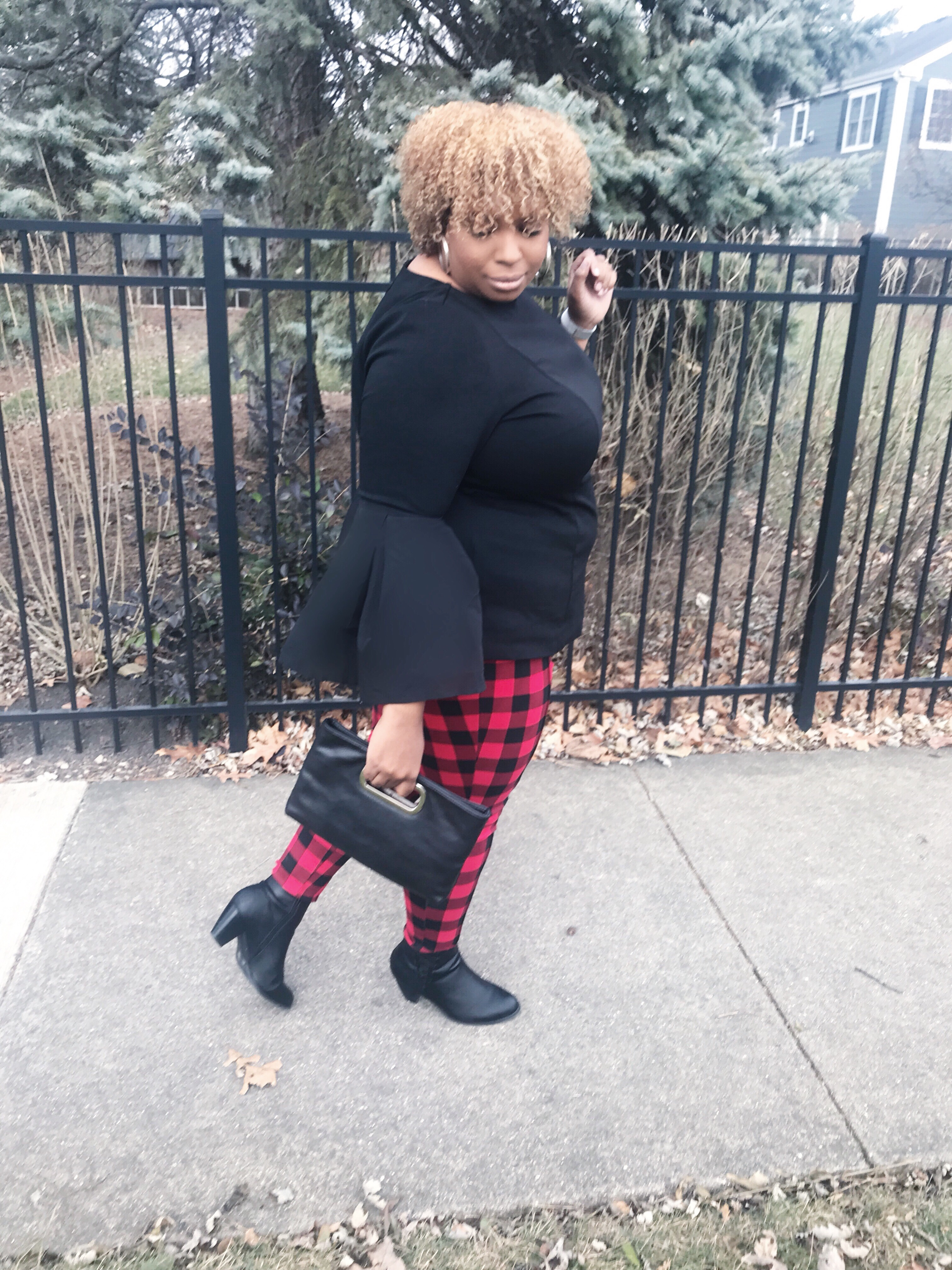 red and black checkered pants, eloquii black pleated sleeve shirt