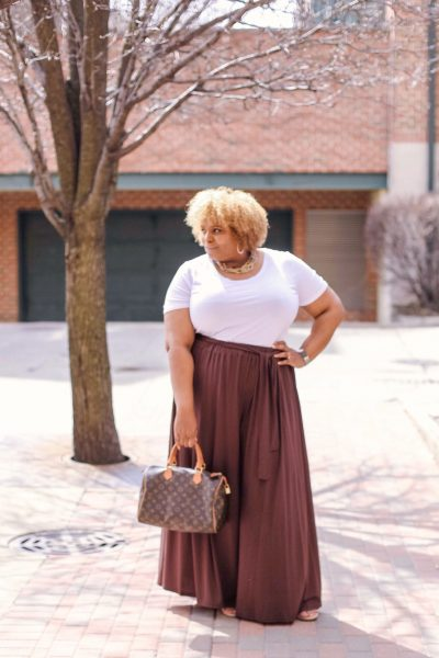 brown palazzo pants outfit