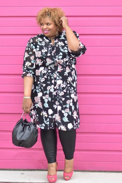 Black tunic shirt dress plus size