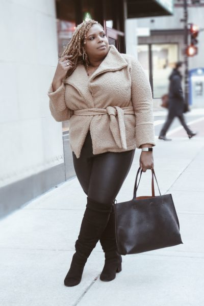 plus size teddy coat leather leggings