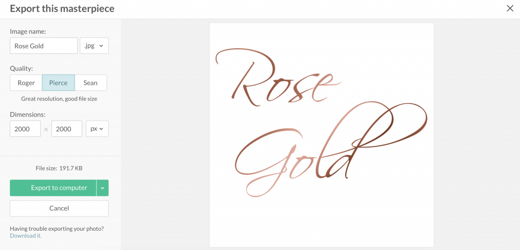 rose gold text pic monkey